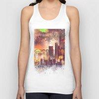 manhattan Tank Tops featuring Good night Manhattan by HappyMelvin