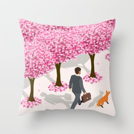 Vector illustration of an isometric businessman  and a fox walking alone cherry blossom lane Throw Pillow