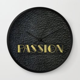 PASSION - black leather gold letters Wall Clock