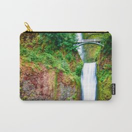 Bridge over waterfall full with green leaves and water pool Carry-All Pouch