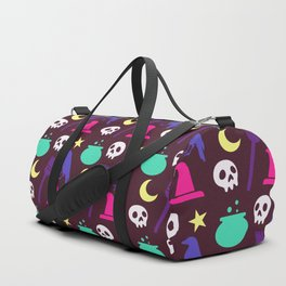 Happy halloween witch hats, crows, brooms, skulls and moons pattern Duffle Bag