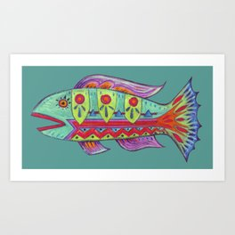 Zig Zag Abstract Fish Art Print