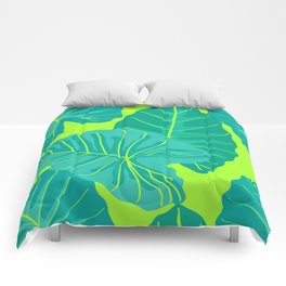 Giant Elephant Ear Leaves in Neon Lime Green Comforters