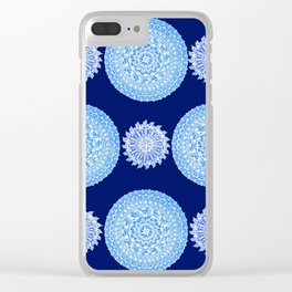 Royal Blue and Silver-White Patterned Mandalas Clear iPhone Case