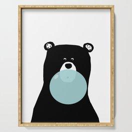 Bear with gum art, modern bear, woodland art, baby bear, peekaboo bear, nursery, kids,children,bear Serving Tray