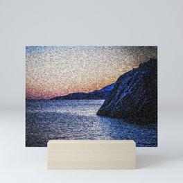 Seascape Sunset with Cliffs Mini Art Print