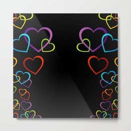 colorful valentine hearts art Metal Print