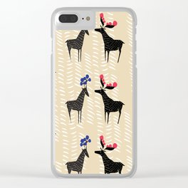 Deers with fancy horns Clear iPhone Case