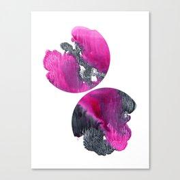 Black and pink abstract watercolor circles Canvas Print