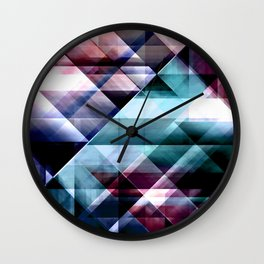 Burgundy Teal and Blue Abstract Geometric Pattern Wall Clock