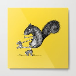 Ride On Squirrel_yellow Metal Print