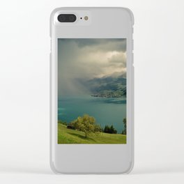 arising storm over lake lucerne Clear iPhone Case