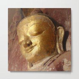 Buddha Head Gold Illustration Metal Print