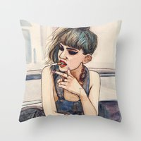 grimes Throw Pillows featuring Grimes by Helen Green
