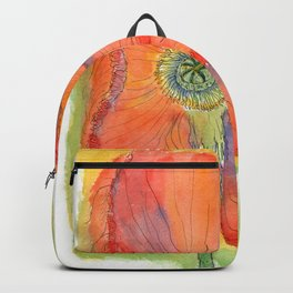 Red Poppy-3 (Papaver rhoeas) Backpack
