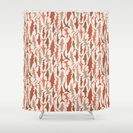 Swimming with Sharks in Coral and Brown Shower Curtain