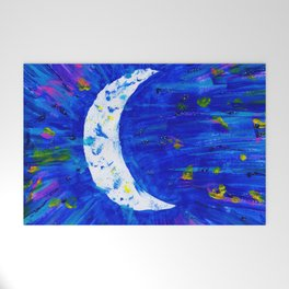 Glitter Crescent Moon Phase Welcome Mat