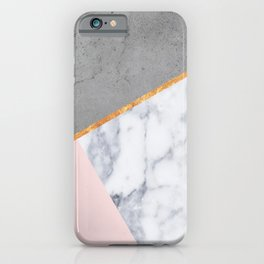 Marble Blush Gold gray Geometric iPhone Case