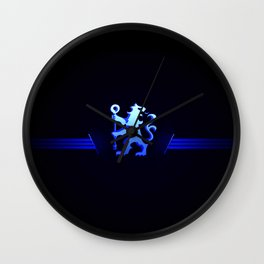 football team with its oversized color blue Wall Clock