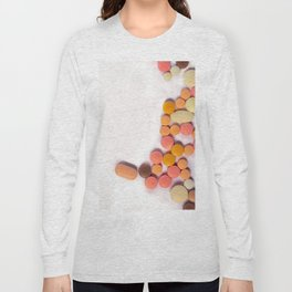 Numerous colorful pills on white background. Long Sleeve T-shirt