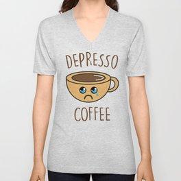 Depresso Coffee, Funny, Quote, Coffee Unisex V-Neck
