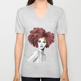 Curly woman Unisex V-Neck