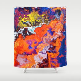 Vibrant Marble Texture no6 - Red Sunset over the Sea Shower Curtain