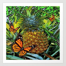 MONARCH BUTTERFLIES & PINEAPPLE ABSTRACT WATERCOLOR Art Print