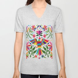 Colorful ,mexican, traditional, textile, embroidery ,style  Unisex V-Neck