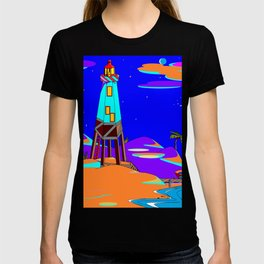 A Lighthouse on a Sandy Beach by Moonlight T-shirt