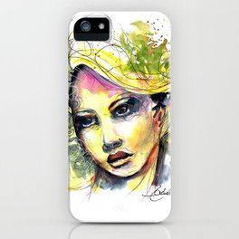 Abstract watercolor portrait iPhone Case