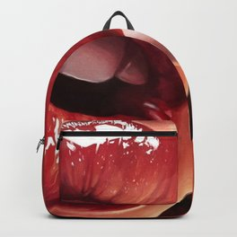 Heart Shape Lips with red lipstick smoking a cigarette portrait painting  Backpack