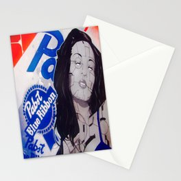 pabst blue ribbon robot lady Stationery Cards
