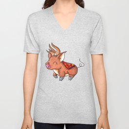 Reindeer Piggy Unisex V-Neck