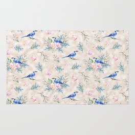 Chic Watercolour Blue Jay Spring Flowers Rug