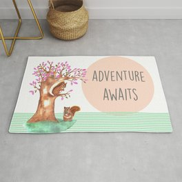 Adventure awaits cute watercolor squirrels Rug