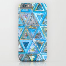 Blue Triangle Map Collage Slim Case iPhone 6s