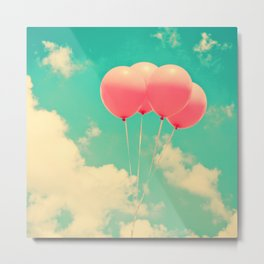Balloons in the sky (pink ballons in retro blue sky) Metal Print