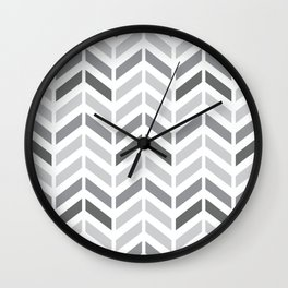 Chevron Grey Small Pattern Wall Clock