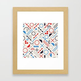 Seamless Jumble Shapes in Blue Red White Color Geometric Retro Pattern  Framed Art Print