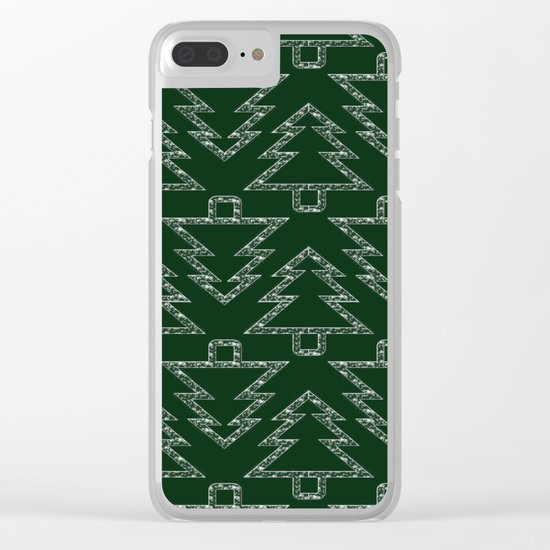 Merry Christmas- Abstract christmas tree pattern on festive green Clear iPhone Case