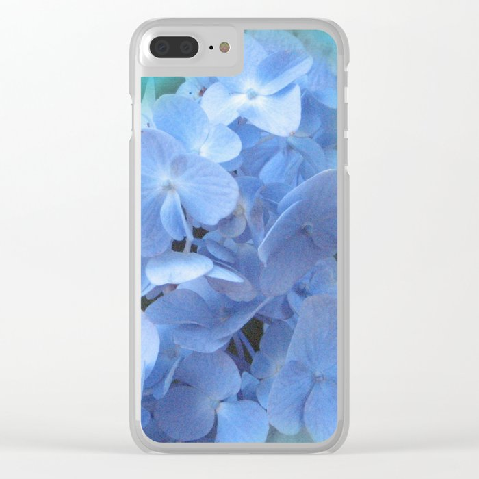 Blue Hydrangea on Green Clear iPhone Case
