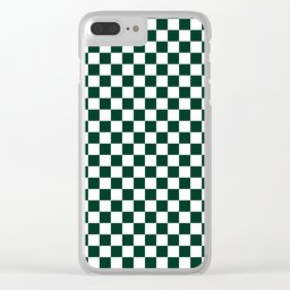 Small Checkered - White and Deep Green Clear iPhone Case