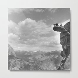 A.E. McConnell and daughter sitting on the precarious Glacier Point in Yosemite National Park, 1901 Metal Print