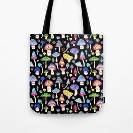 Colorful Mushroom Watercolor on Black Tote Bag