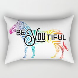 """BeYOUtiful"" - Colorful Zebra Design Rectangular Pillow"