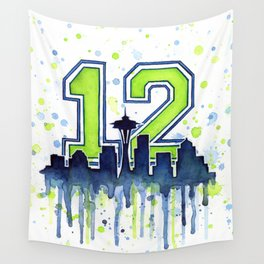 Seattle 12th Man Art Skyline Watercolor Wall Tapestry