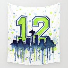 Seattle 12th Man Art Skyline Watercolor Wall Tapestry