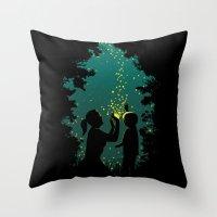 fireflies Throw Pillows featuring Fireflies by pigboom el crapo