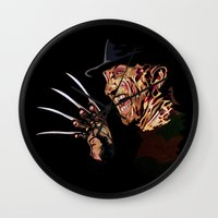 freddy krueger Wall Clocks featuring Freddy by iankingart